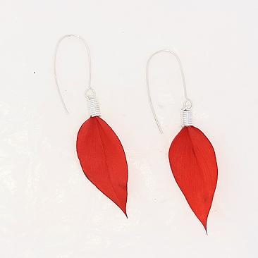 pendientes flor ruscus roja