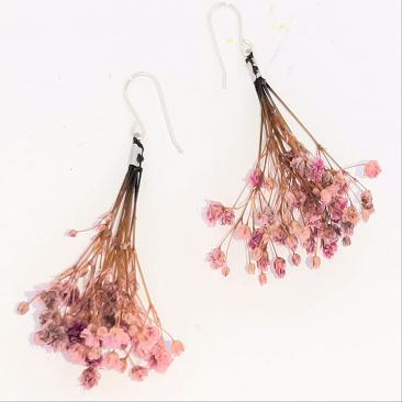 pendientes flor rosa