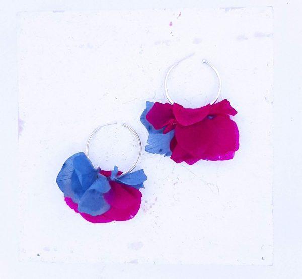 Pendientes de Aro de flor de Hortensia
