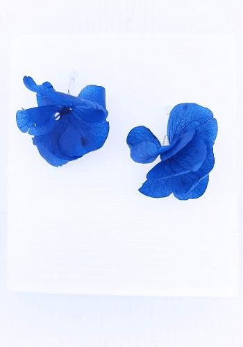 pendiente flor hortensia azul