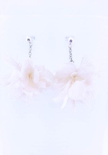 Pendientes de flor de Hortensia Blanca