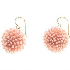 pendientes de flor de Craspedia Rosa y Oro
