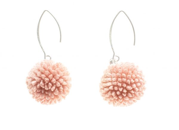 pendientes de flores de Craspedia Rosa y Plata
