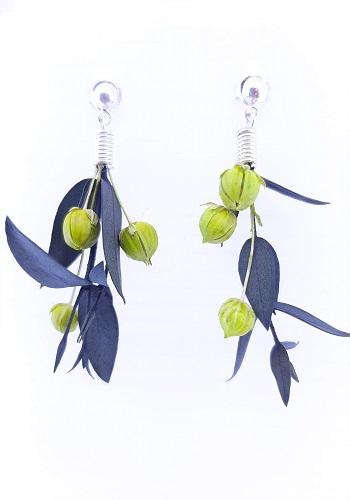 pendientes flor Parvifolia y Lino