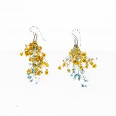 pendientes flor Ramillete y Broom Amarillo-Azul