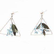 Pendientes Triangulares de Ramillete, Parvifolia y Broom Azul.